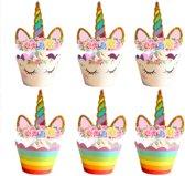 Cupcake decoratie – cupcake vormpjes papier – voor het maken van de leukste eenhoorn cupcakes voor diverse gelegenheden. 2 designs in 1 set cupcake decoratie!