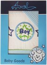 ANEL - wieglaken met sloop - Boy - wit / blauw - 80*100