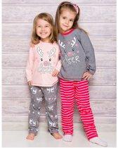 Kinderpyjama Oda1166 roze met opdruk en bedrukte broek - 116