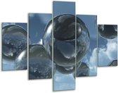 Glasschilderij Druppels | Zilver, Grijs, Blauw | 100x70cm 5Luik | Foto print op Glas |  F001490