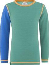 Solid shirt merino wol - mint/blauw - maat 128