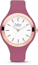 Colori Macaron 5 COL512 Horloge - Siliconen Band - Ø 30 mm - Vintage Roze