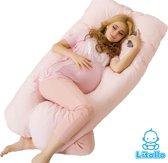 Zwangerschapskussen XXL – Voedingskussen – 280cm – Inclusief handige opbergtas – Roze