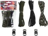 JLS� Paracord Set � 3 kleuren cord inclusief 3 buckels / sluitingen