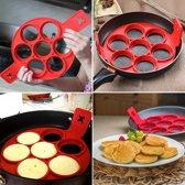 Siliconen Bakvorm Pannenkoek of Ei – Pannenkoekenmaker - Mini Pannenkoeken Vorm – Maak snel en gemakkelijk 7 perfecte kleine pannekoeken