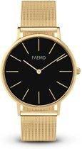 FAEMD Soleil Mesh Series - Horloge - Dames - Classic Goud/Zwart - Mesh - Goud - Ø 37 mm