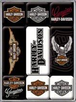 Nostalgic Art Magneet set Harley Davidson Logos