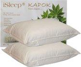 iSleep Kapok Hoofdkussen Set (2 Stuks) - 100% Kapok (1100 gram) - 60x70 cm