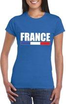 Blauw Frankrijk supporter t-shirt voor dames XS