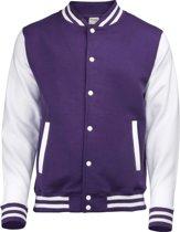 AWDis Varsity jacket, Purple/White, Maat XXL