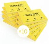 Magnetic Notes, set van 10 notitieboekjes maat M (100x74mm)x100 sheets Geel