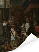 Het Sint Nicolaasfeest - Schilderij van Jan Steen Poster 60x80 cm - Foto print op Poster (wanddecoratie woonkamer / slaapkamer)