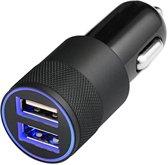 MMOBIEL Universele Autolader - 2 USB Poorten - 5V/1.0 + 2.1A - Zwart - incl. Blauwe LED