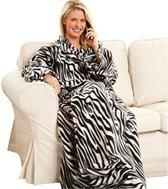Fleece deken met mouwen - zebraprint