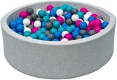 Ballenbad - stevige ballenbak - 90 x 30 cm - 150 ballen Ø 7 cm - wit blauw roze grijs turquoise