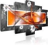 Schilderij - Bloemen en abstractie, Grijs/Oranje, 2 Maten, 5luik
