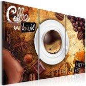 Schilderij - Koffie, Bruin, 3 Maten, 3luik