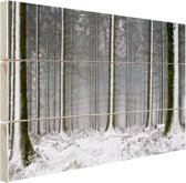 FotoCadeau.nl - Besneeuwde bomen in de winter Hout 80x60 cm - Foto print op Hout (Wanddecoratie)