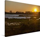 Zonsondergang bij het Nationaal park Doñana in Spanje Canvas 30x20 cm - klein - Foto print op Canvas schilderij (Wanddecoratie woonkamer / slaapkamer)