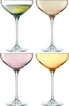L.S.A. Polka Champagnecoupe - Glas - 390 ml - 4 Stuks - Metalic Assorti