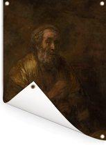 Homerus - Schilderij van Rembrandt van Rijn Tuinposter 120x160 cm - Tuindoek / Buitencanvas / Schilderijen voor buiten (tuin decoratie) XXL / Groot formaat!
