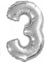 Folieballon nummer 3 zilver (36 cm)
