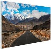 Eindeloze weg richting de Himalaya Glas 90x60 cm - Foto print op Glas (Plexiglas wanddecoratie)