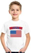 Amerika t-shirt met Amerikaanse vlag wit kinderen XS (110-116)