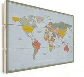 Wereldkaart op Vurenhout Historisch Vintage Muurdecoratie klein 40x30 cm | Wereldkaart Hout