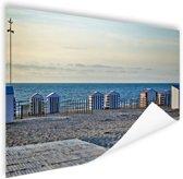 Strand aan de Noordzee met huisjes Poster 150x75 cm - Foto print op Poster (wanddecoratie woonkamer / slaapkamer) / Zee en Strand