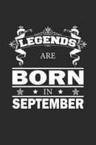 Legends Are Born In September: Notizbuch, Notizheft, Notizblock - Geburtstag Geschenk-Idee f�r Legenden - Karo - A5 - 120 Seiten