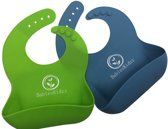 Baby Slab UMIGAL Soft Bib 2-Pack Silicone zachte slabbers Complete set van 2 Pack. Groen en Blauw