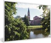 Foto in lijst - Het stadhuis van de Duitse stad Kiel fotolijst wit 60x40 cm - Poster in lijst (Wanddecoratie woonkamer / slaapkamer)