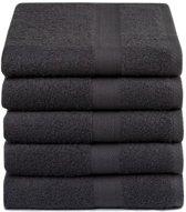 Luxe Katoen Handdoeken Antraciet | 50x100 | Set van 5 | Vochtabsorberend En Zacht