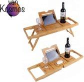 van Kosmos Bamboo Badplank/Dienblad voor bed en bad - Bamboo Brug Verstelbaar- 70 tot 102 cm - tabletstandaard - mobielhouder - ontbijt en lekkers