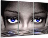 Canvas schilderij Ogen | Blauw, Grijs, Zwart | 120x80cm 3Luik
