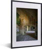 Foto in lijst - Prachtige gangen in het Citadelle Laferrière fotolijst zwart met witte passe-partout klein 30x40 cm - Poster in lijst (Wanddecoratie woonkamer / slaapkamer)