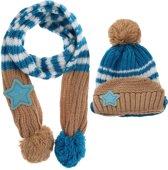 Muts en sjaal set voor kinderen | 1-5 jaar | beige blauw