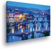 City Prague River Bridges Canvas Print 100cm x 75cm