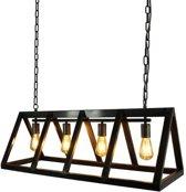 LABEL51 - Hanglamp Roof Zwart Staal 4-lamps 95x35x38 cm