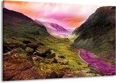 Canvas schilderij Bergen | Roze, Paars, Grijs | 140x90cm 1Luik
