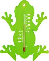 Binnen/buiten thermometer groene kikker 15 cm - Tuindecoratie dieren - Kikkers artikelen - Buitenthemometers