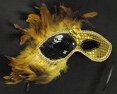 Gouden Venetiaans masker met veren