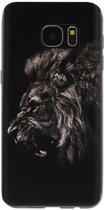 ADEL Siliconen Back Cover Softcase Hoesje voor Samsung Galaxy S7 - Leeuwen Zwart