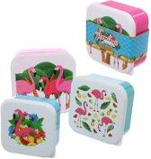 Set van 3 koekdoosjes met afbeelding flamingo