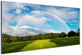 Spectaculaire dubbele regenboog Aluminium 90x60 cm - Foto print op Aluminium (metaal wanddecoratie)