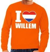 Oranje I love Willem sweater heren M