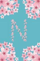 N Monogram Letter N Cherry Blossoms Journal Notebook