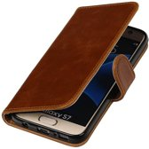 Premium TPU PU Leder bookstyle / book case/ wallet case voor Samsung Galaxy S7 G930F Bruin