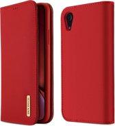 DUX DUCIS WISH Series TPU + PU + lederen tas voor iPhone XR, met kaartsleuven en portemonnee (rood)